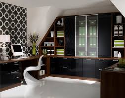 home office furniture brown cabinet with cabinet door and work desk and futurictic white work chair black gloss rectangle home office desk