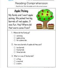 Reading Comprehension Worksheets | A WellspringReading for Kindergarten - Apple Picking. Three multiple choice questions.