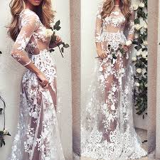<b>Women Sexy</b> Long <b>White</b> See-Through Maxi Dress Gown <b>Elegant</b> ...