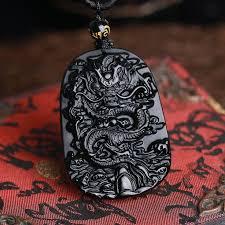 <b>Obsidian</b> Carved Dragon Pendant Necklace | Dragon pendant ...