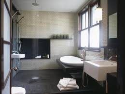spa bathroom showers: asian inspired spa bathroom with rain shower and freestanding tub