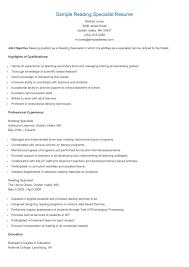 sample reading specialist resume resame reading sample reading specialist resume