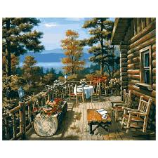 cabin decor lodge sled: diy oil painting on linen by numbers handpainted scenery painting jungle lodge home decorchina