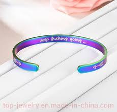 China Arrow Titanium <b>Steel C</b>-<b>Shaped</b> Inspiration Bracelet Keep ...