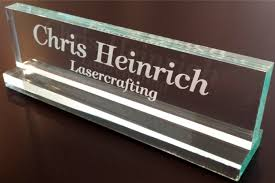 amazoncom office desk name plate 12 glass like acrylic personalized customized business and store signs office products acrylic office desk