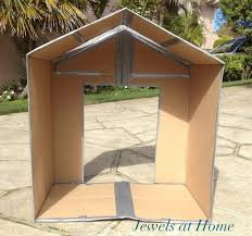 Folding Cardboard Play House   Jewels at HomeDIY folding cardboard house tutorial  From Jewels at Home