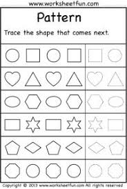 Worksheets, The shape and Free printable worksheets on PinterestPattern – Trace the shape that comes next – 2 Worksheets - FREE PRINTABLE WORKSHEETS