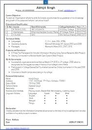 Resume Samples Engineering Freshers     BNZY