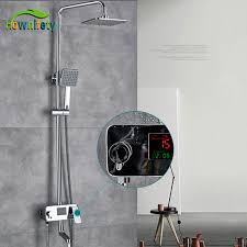 bathroom rain shower set thermostat faucet mixer tap chrome brass waterfall bath head digital panel system