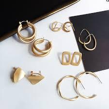 Fashion Statement <b>Earrings 2019 New</b> Geometric Matte Gold ...