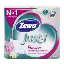 "<b>Бумага туалетная Zewa</b> ""<b>Just</b> 1 Flowers"", четырехслойная, 4 штуки"