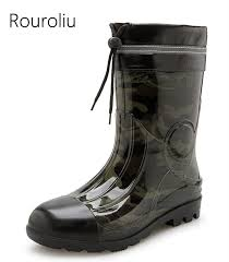 <b>Rouroliu</b> Men Autumn Waterproof Rain Boots <b>Mid Calf</b> Water Shoes ...