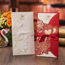 1pcs White Red Laser Cut <b>Wedding Invitations</b> Card <b>Rose</b> Love ...