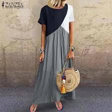 <b>Bohemian Printed</b> Maxi Dress ZANZEA <b>2019 Women's</b> Sundress ...