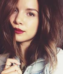 ingrid nilsen a k a miss glamorazzi brown hair brown eyes and fair olive skin tone in vy berry red lips eyes makeup 2016