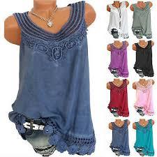<b>Summer Women Lace</b> Loose <b>Sleeveless</b> Vest T Shirt Blouse Boho ...