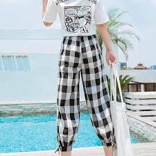 Summer Casual Loose <b>Style Plaid</b> Pattern Pants Ladies Wide Leg ...