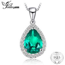 JewelryPalace 0.7ct Water Drop Created Emerald Pendants ...