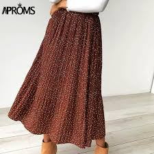 <b>Aproms White</b> Dots Floral Print Pleated Midi Skirt Women Elastic ...