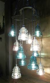 funky bathroom lights: horse shoe antique glass insulator pendant chandelier light fixture glass art ebay