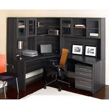 curved black stained oak wood office computer desk with shelves and cabinet storage using glass door astounding small black computer