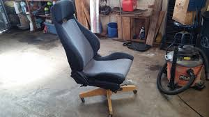 a little while ago i saw a post on car seat office chairs so i decided to make my own the seat is from a junkyard toyota paseo and the base is car seats office chairs