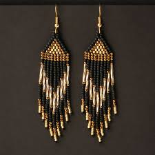 Чёрно-золотые <b>серьги</b> из бисера | Образцы украшений из ...