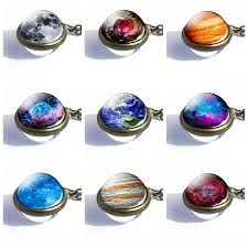 <b>2019 Fashion Double Side</b> Glass Ball Necklace Solar System ...