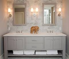 dual vanity bathroom: refined llc exquisite bathroom with freestanding gray double sink vanity topped with white counter