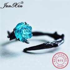 JunXin <b>Cute Female Blue</b> Rose Flower Ring 925 Sterling Silver ...