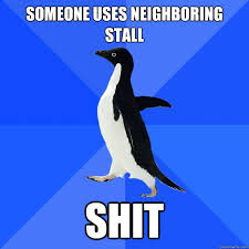 Someone uses neighboring stall Shit - Socially Awkward Penguin ... via Relatably.com