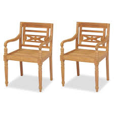 vidaXL <b>Batavia Chairs 2 pcs</b> Solid Teak Wood