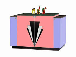 new art deco 4 door stepped sideboard with deco design on doors lacquered painted in miami art deco furniture design