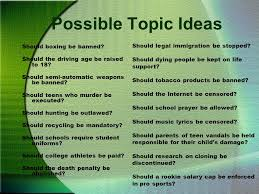 writing the argumentativepersuasive essay choosing a topic to  possible topic ideas should boxing be banned should the driving age be raised to