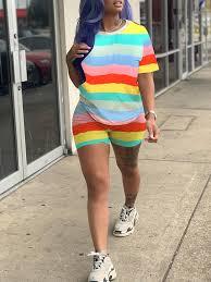 Yellow Rainbow Striped Print Round Neck Short Sleeve <b>2-in-1</b> ...