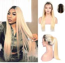 Lace Frontal #1B/613 Blonde With Dark Roots Pre ... - Amazon.com