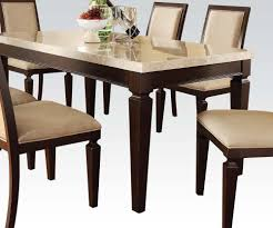 Marble Top Kitchen Table Set Acme Agatha White Marble Top Rectangular Dining Table In Espresso