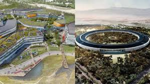 then you go to the beautiful norman foster designed apple headquarters where numbers vary but according to the project description filed with the city of apple new office