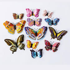 <b>Double</b> Layer Butterfly Sticker <b>Luminous</b> Fridge Magnets <b>12PCS 3D</b> ...