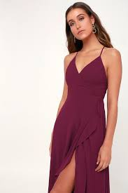 In <b>Love Forever</b> Burgundy Lace-Up High-Low Maxi Dress $84