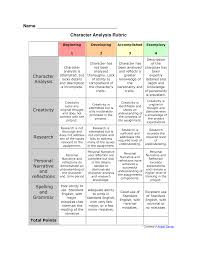 rubric for character analysis character analysis graphic rubric for character analysis character analysis graphic organizer