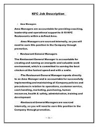 human resource management of kfc   kfc job description