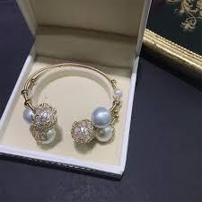 <b>ANI 14K Roll</b> Gold Handmade Women Bangle Freshwater White ...