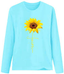 Sports & Outdoors Womens Long Sleeves Crew <b>Neck</b> Sunflower ...
