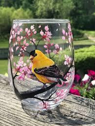 Yellow Finch Wine <b>Glass</b> Hand <b>Painted Bird Spring</b> Cherry | Etsy ...