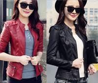 2016 Spring New <b>Women's</b> Motorcycle Leather <b>Jacket Korean</b> ...