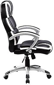Oypla Designer Computer <b>Office Chair</b> - <b>Black</b> with White Accents ...