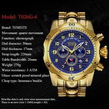 temeite brand top luxury men sport watch stainless steel digital quartz watches gold wristwatch clock led relogio masculino