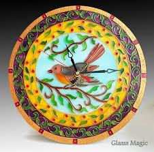 <b>Spring Bird Glass</b> Clock <b>glass painting glass</b> art vitrail | Etsy