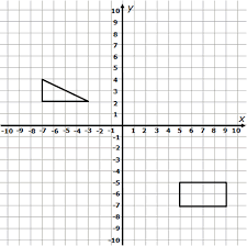Transformations Worksheet (3 Pages)cartesian grid showing a triangle and a rectangle that are to be translated